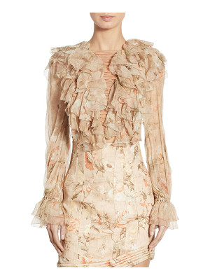 ZIMMERMANN Bowerbird Ruffled Lace-Up Silk Bell Sleeve Blouse
