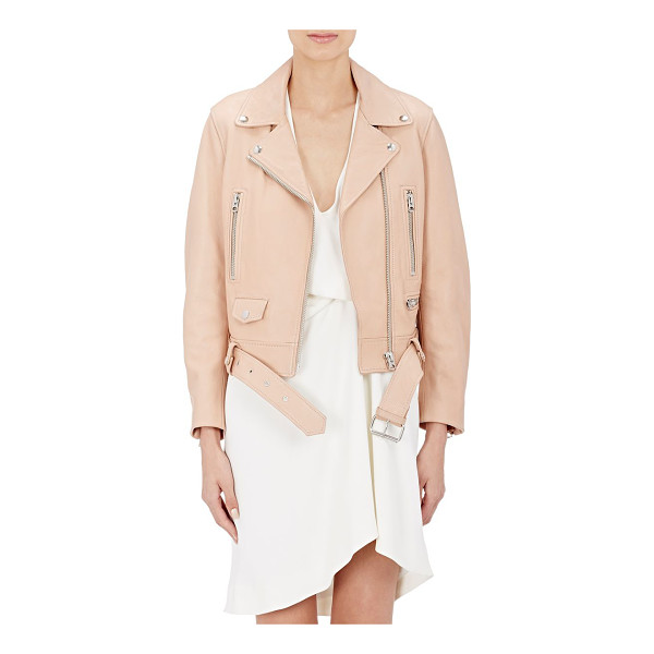 "ACNE STUDIOS Leather ""mock"" moto jacket-pink - Acne Studios peach leather ""Mock"" moto jacket styled with a..."