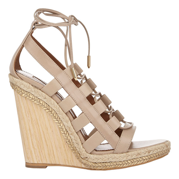 AQUAZZURA Amazon wedge espadrilles-nude - Crafted of Biscotto (tan) smooth woven calfskin,...