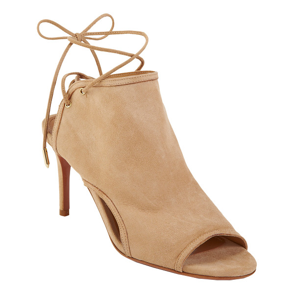AQUAZZURA Bond 75 glove sandal-nude - Exclusively Ours! Crafted of supple nude suede,...