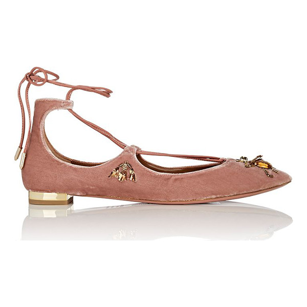 AQUAZZURA Christy fauna velvet lace-up flats-pink - Aquazzura's Christy Fauna flats are crafted of pink velvet...