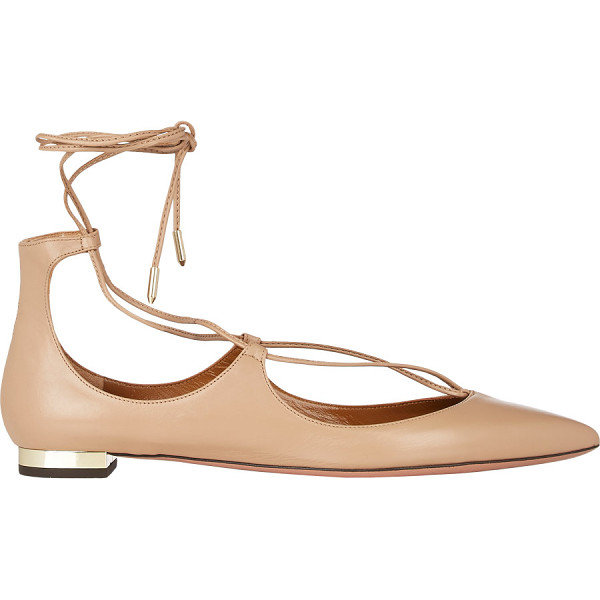 AQUAZZURA Christy lace-up flats-nude, tan - Crafted of Biscotto smooth leather, Aquazzura's point-toe...