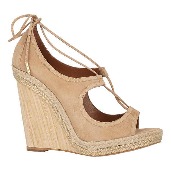 AQUAZZURA Christy wedge espadrilles-nude - Crafted of beige suede, Aquazzura's Christy lace-up...