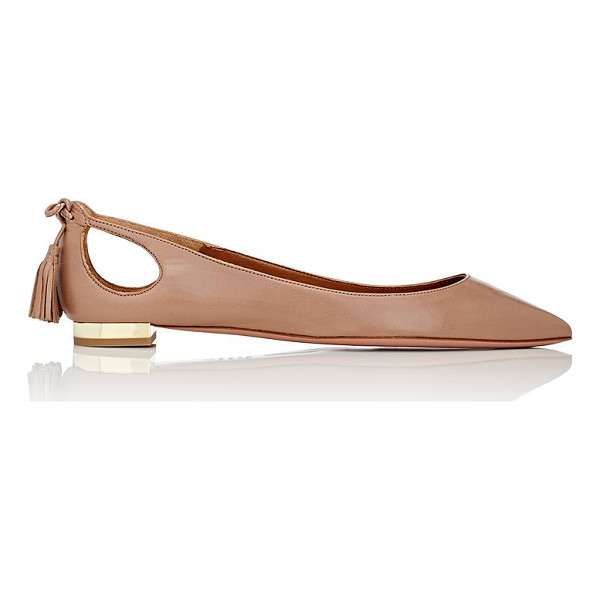 AQUAZZURA Forever marilyn leather flats-nude - Exclusively Ours! Crafted of dark beige nappa leather,...