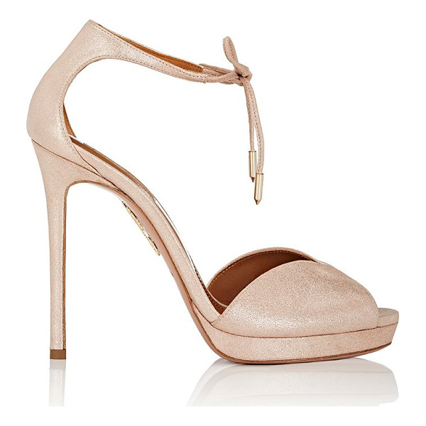 AQUAZZURA Hayworth suede sandals-gold, pink - Aquazzura Rose Gold metallic suede Hayworth ankle-tie...