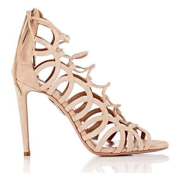 "AQUAZZURA ""ooh lala"" sandals-nude - Aquazzura beige suede ""Ooh Lala"" lace-up sandals detailed..."