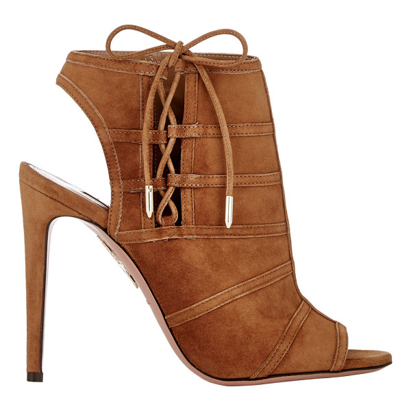 "AQUAZZURA Oui baby ankle booties-brown - Aquazzura Cognac suede ""Oui Baby"" ankle booties styled at..."