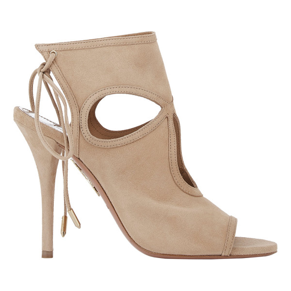 AQUAZZURA Sexy thing booties-nude - Aquazzura Nude suede Sexy Thing booties detailed at vamp...