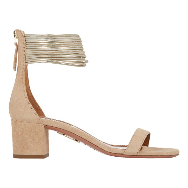 AQUAZZURA Spin me around sandals-nude - Aquazzura beige suede Spin Me Around sandals styled at...