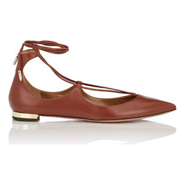AQUAZZURA Christy lace-up flats-brown, tan - Exclusively Ours! Crafted of Luggage smooth calfskin,...