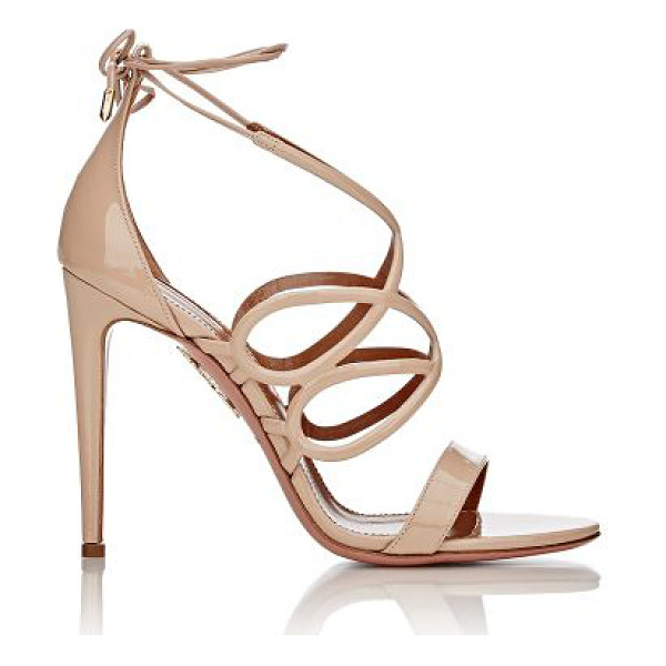 AQUAZZURA Gigi ankle-tie sandals-nude - Aquazzura beige patent leather Gigi lattice-strap sandals...