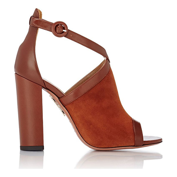 AQUAZZURA Issa sandals-brown - Exclusively Ours! Aquazzura Luggage Brown suede and smooth...