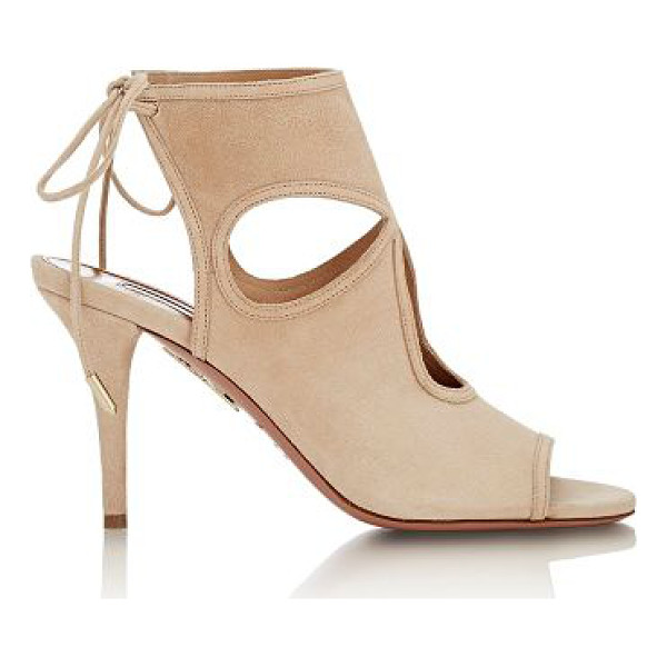 AQUAZZURA Sexy thing booties-nude - Aquazzura beige suede Sexy Thing ankle booties detailed...