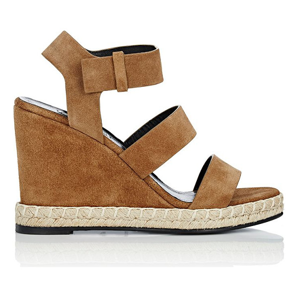 BALENCIAGA Espadrille platform wedge sandals-brown - Balenciaga Noisette (brown) suede ankle-strap platform...