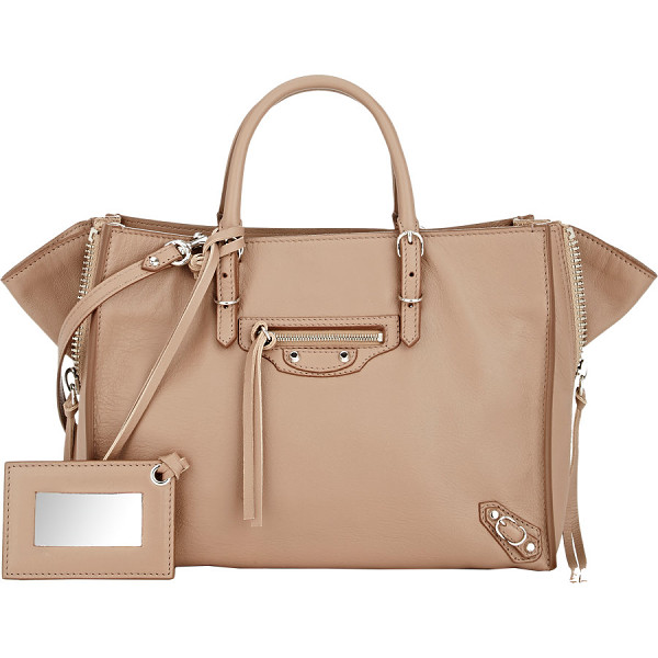 BALENCIAGA Papier a6 side-zip tote-beige - Balenciaga Beige Sable supple grained calfskin Papier A6...