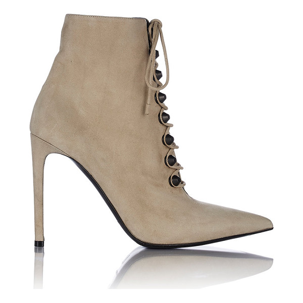 BALENCIAGA Studded side-zip ankle booties-nude - Balenciaga Chaume (beige) suede lambskin pointed-toe ankle...