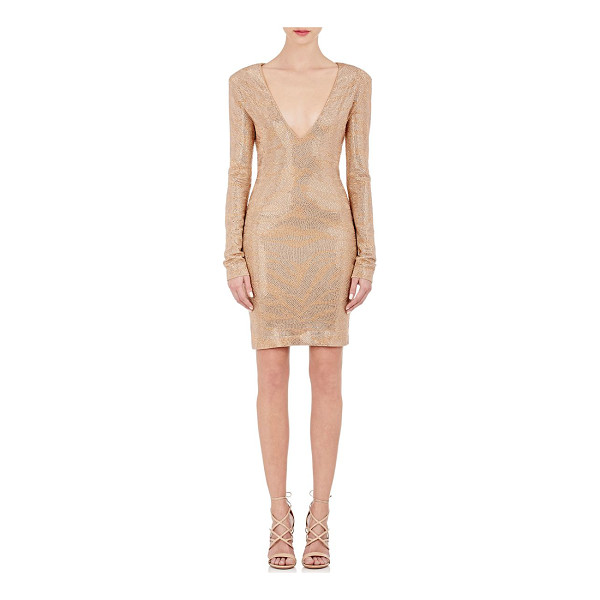 BALMAIN Crystal-embellished cocktail dress-nude - Balmain's beige compact jersey V-neck cocktail dress is...
