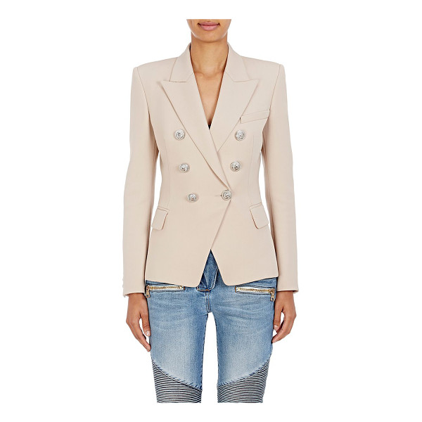 BALMAIN Wool double-breasted blazer-brown - Balmain's beige plain-weave wool double-breasted blazer is...