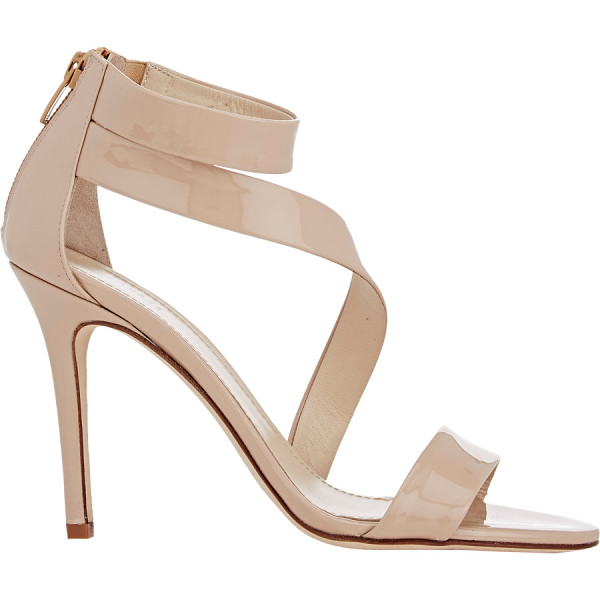 BARNEYS NEW YORK Asymmetric-strap sandals-nude - Exclusively Ours! Barneys New York beige patent calfskin...