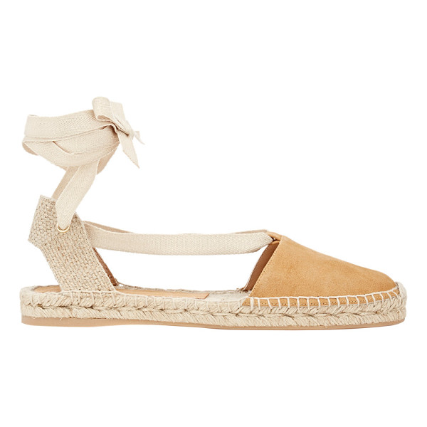 BARNEYS NEW YORK Basca ankle-tie espadrilles-nude - Exclusively Ours! Crafted of beige suede, Barneys New...