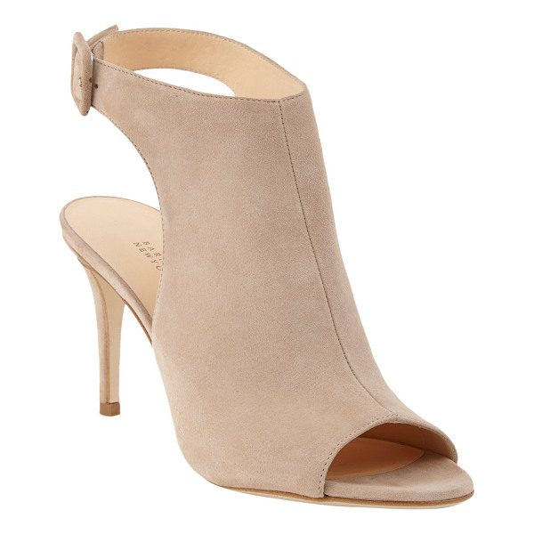 BARNEYS NEW YORK Halter glove sandal-nude - Exclusively Ours! Our buttery suede open-toe bootie is...