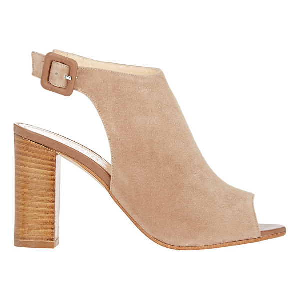 BARNEYS NEW YORK Peep-toe ankle-strap sandals-tan - Exclusively Ours! Barneys New York tan suede high-heel...