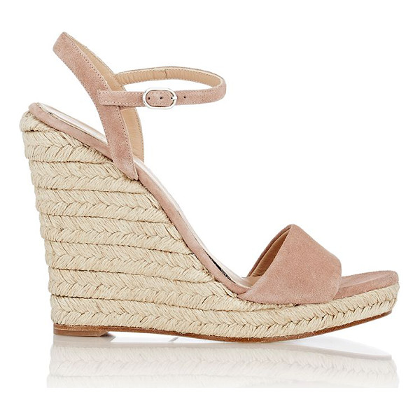 BARNEYS NEW YORK Fania platform wedge sandals-nude - Exclusively Ours! Barneys New York dusty rose suede Fania...