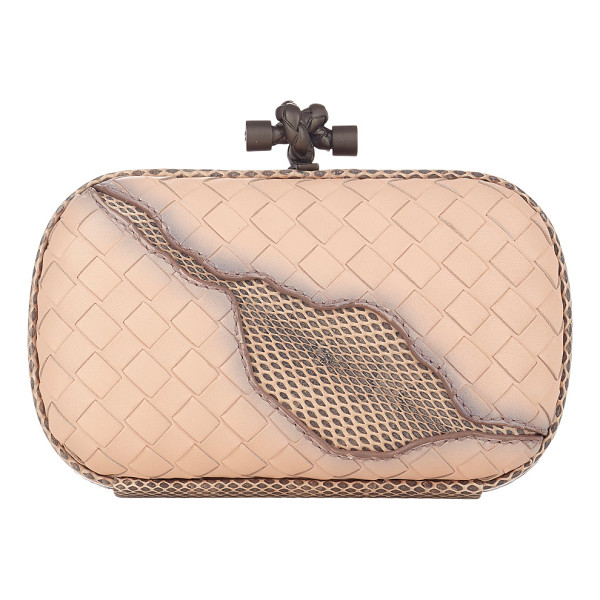 BOTTEGA VENETA Snakeskin-inset intrecciato knot clutch-pink - Crafted of Flamingo (pale pink) nappa leather woven in...