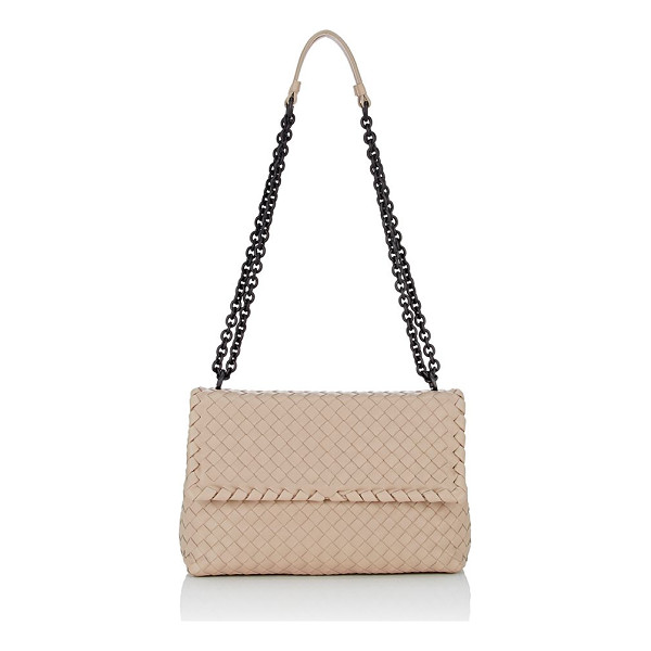 BOTTEGA VENETA Olimpia intrecciato small shoulder bag-nude - Constructed of beige supple leather woven in the house's...