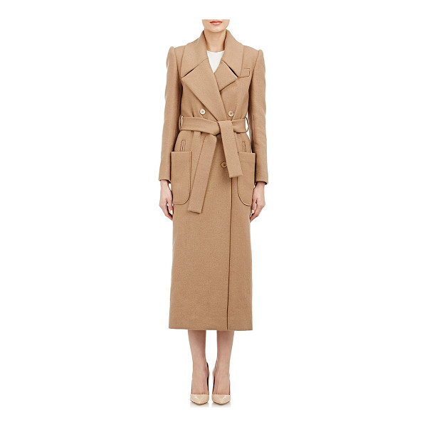 CARVEN Belted double-breasted coat-nude - Carven camel bias-cut wool-blend belted double-breasted...