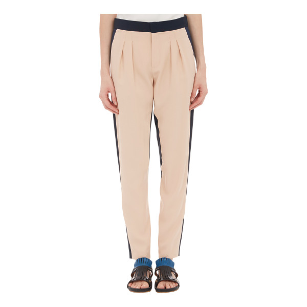 CHLOE Colorblock pleated trousers-nude - Chloe blush and navy colorblock textured light cady pleated...