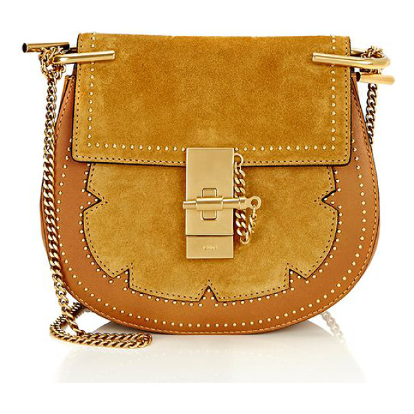 CHLOE Drew small crossbody-colorless - Chloe's mustard brown suede and grained leather Drew small...