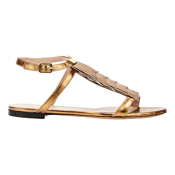 CHLOE Fringe-trimmed ankle-strap sandals-colorless - Crafted of metallic Golden Bronze leather, Chloe's flat...
