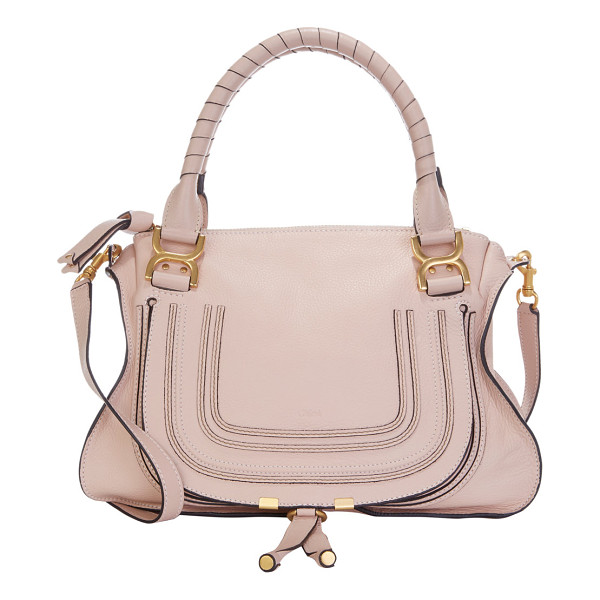 CHLOE Marcie medium satchel-nude - Chloe Blush Pink grained leather equestrian-inspired Marcie...