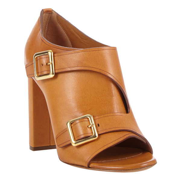 CHLOE Peep-toe double-buckle ankle boots-brown - Chloe Teak Brown leather peep-toe ankle boots styled with...