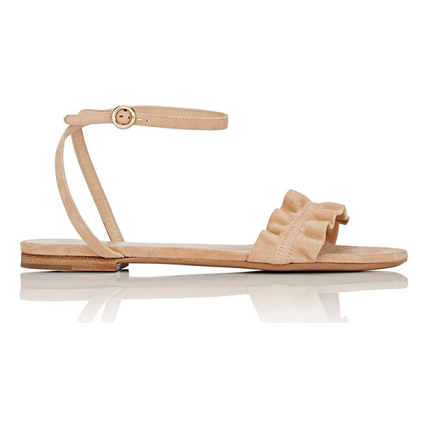 CHLOE Ruffle-detail suede ankle-strap sandals-beige - Chloé tan suede flat ankle-strap sandals detailed with a...