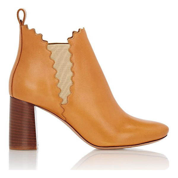 CHLOE Scalloped ankle boots-tan - Chloé Peanut Butter (camel) smooth calfskin ankle boots...