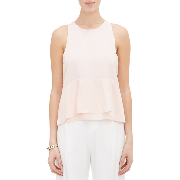 CHLOE Tiered-hem crepe sleeveless top-pink - Crafted of pink crêpe de Chine, Chloé's sleeveless top is...
