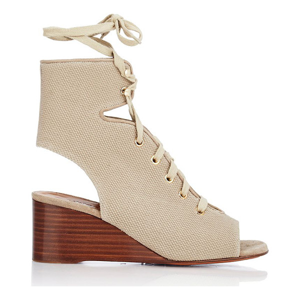 CHLOE Canvas gladiator wedge sandals-colorless - Chloe beige canvas lace-up gladiator sandals styled with an...
