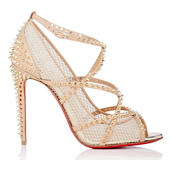 CHRISTIAN LOUBOUTIN Alarc peep-toe pumps-nude - Crafted of beige leather and cream mesh, Christian...