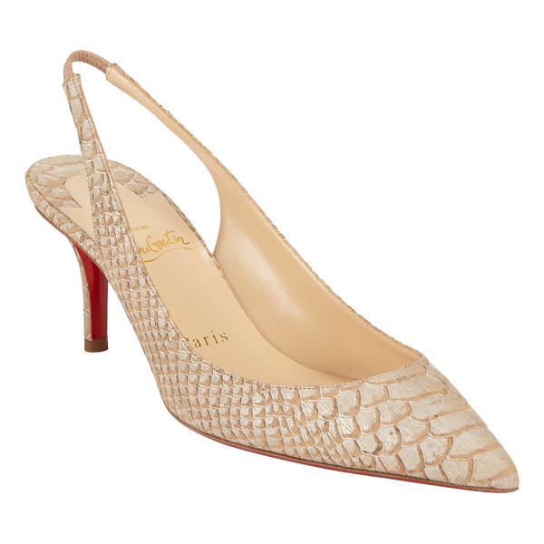 CHRISTIAN LOUBOUTIN Apostrophy slingback pumps-nude - Christian Louboutin beige python-stamped cork Apostrophy...