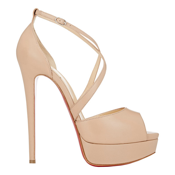 CHRISTIAN LOUBOUTIN Cross me platform sandals-nude - Crafted of beige blush smooth kidskin, Christian...