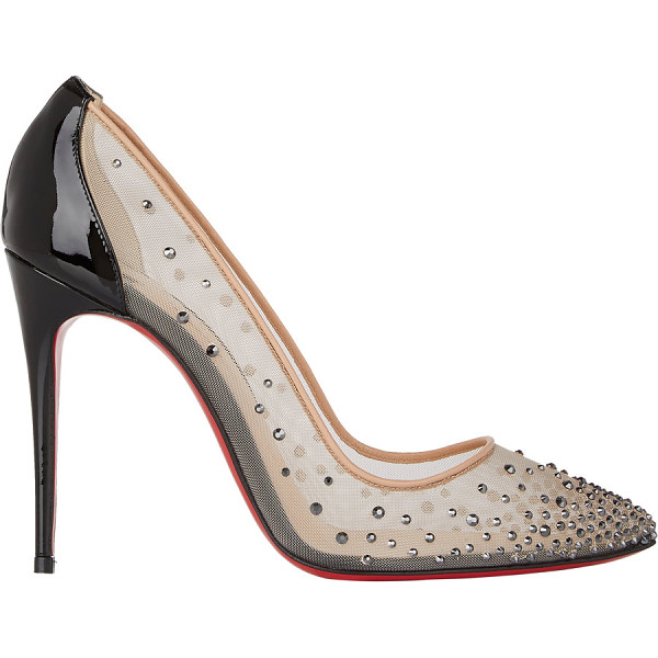 CHRISTIAN LOUBOUTIN Crystal-embellished follies strass pumps-nude size - Crafted of beige mesh and black patent leather, Christian...