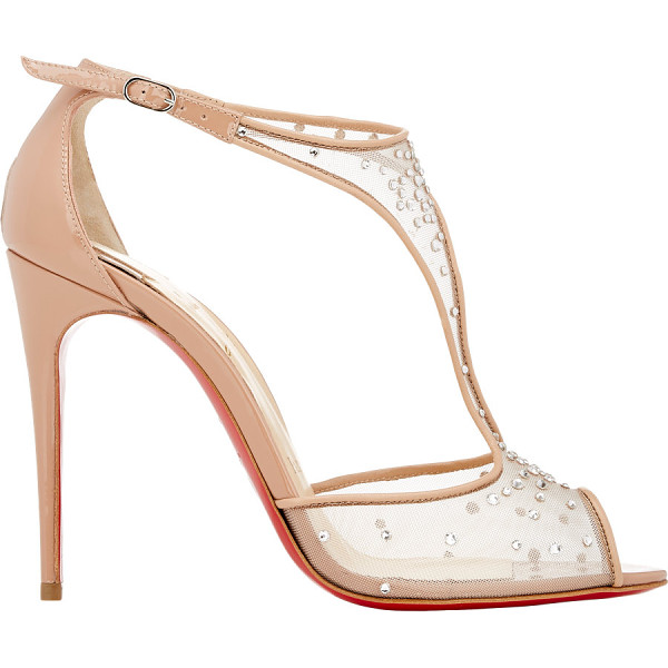 CHRISTIAN LOUBOUTIN Embellished patinana sandals-nude - Crafted of beige blush mesh and patent leather, Christian...