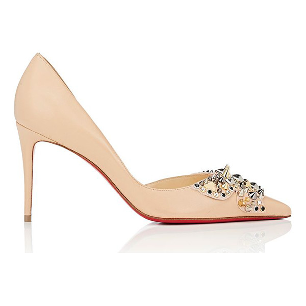 CHRISTIAN LOUBOUTIN Farfaclou leather half dorsay pumps-nude, light pink - Christian Louboutin's beige nappa leather Farfaclou half...