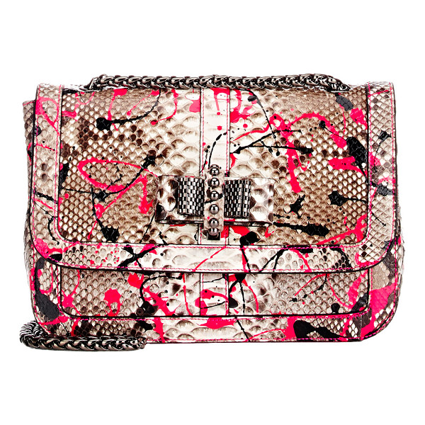 CHRISTIAN LOUBOUTIN Paint splatter python sweet charity shoulder bag - Christian Louboutin taupe and ivory python small Sweet...