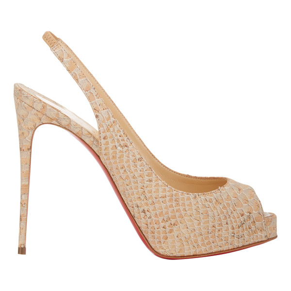 CHRISTIAN LOUBOUTIN Private number slingback pumps-nude - Crafted of beige snake-stamped cork, Christian Louboutin's...