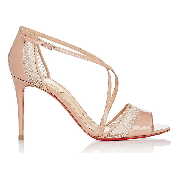 CHRISTIAN LOUBOUTIN Slikova sandals-nude - Christian Louboutin beige patent leather and mesh Slikova...