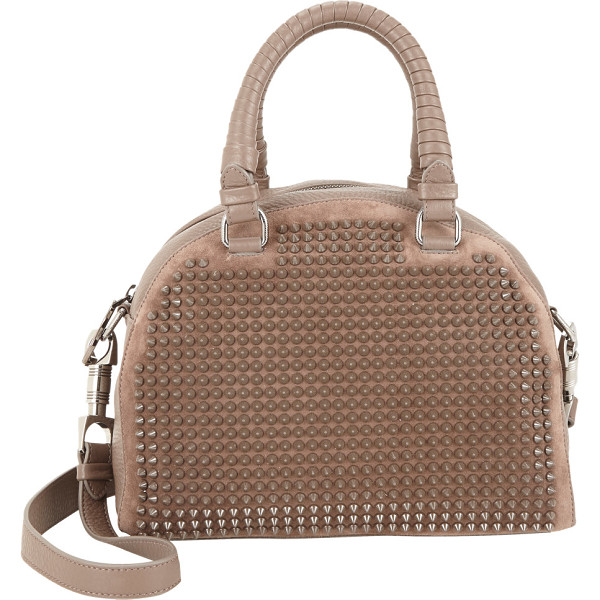 CHRISTIAN LOUBOUTIN Large panettone spiked duffel-brown - Exclusively Ours! Christian Louboutin khaki suede and...