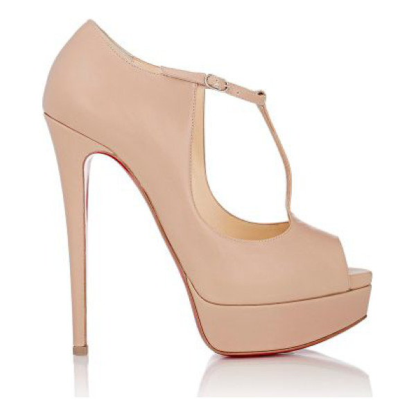 CHRISTIAN LOUBOUTIN Alta poppins t-strap platform pumps-nude - Christian Louboutin beige smooth calfskin Alta Poppins...